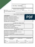 Commisionign HVAC Checklist