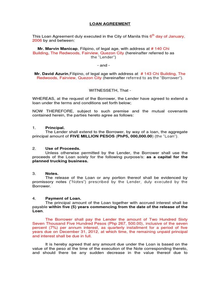 Revised Loan Agreement Debtor Loans