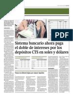 Sistema Bancario Paga Doble Por CTS en Soles y Dólares_Gestión 1-09-2014