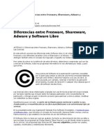 Diferencias Entre Freeware, Shareware, Adware y Software Libre