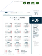 Calendario de Colombia Del 2012