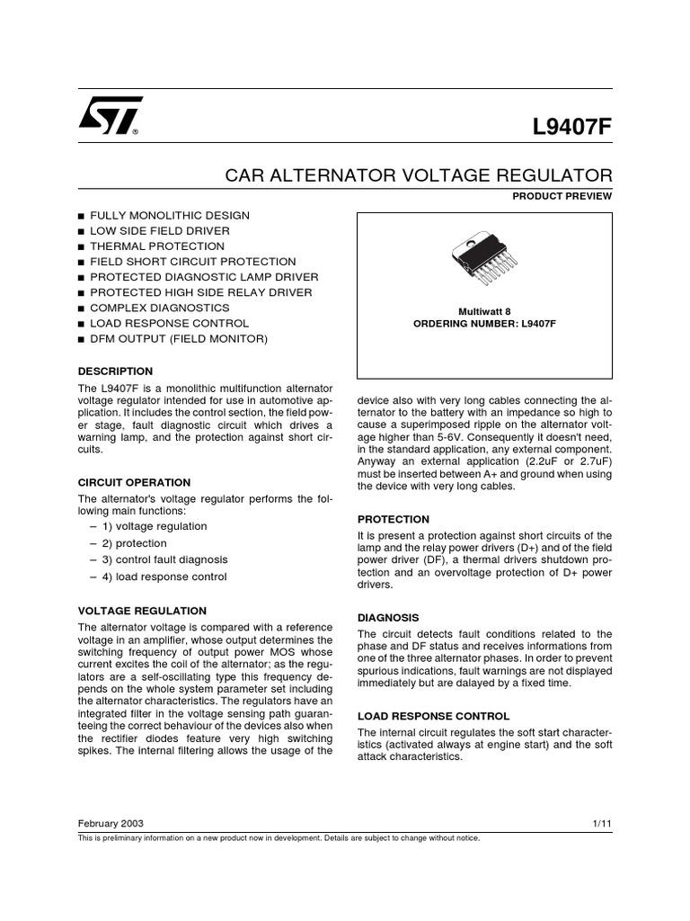 L9235f Car Alternator Voltage Regulator Relay Electronics Short Circuit Protection Of Generators Against