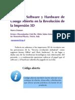 El Rol Del Software y Hardware de Codigo Abierto en La Revolucicon de La Impresion 3D
