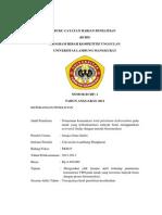 Buku Catatan Harian Penelitian PKMP Penurunan konsentrasi total petroleum hydrocarbon pada tanah yang terkontaminasi minyak bumi menggunakan activated sludge dengan metode bioremediasi