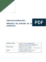 Peris-Ortiz - Internacionalización, Métodos de Entrada en Mercados Externos