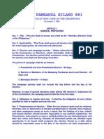 Omnibus Election Code BATAS PAMBANSA BILANG 881