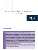 Top 25 Articles of Mathematics