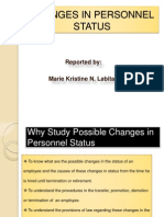 ChangeCHANGES IN PERSONNEL STATUSs in Personnel Status