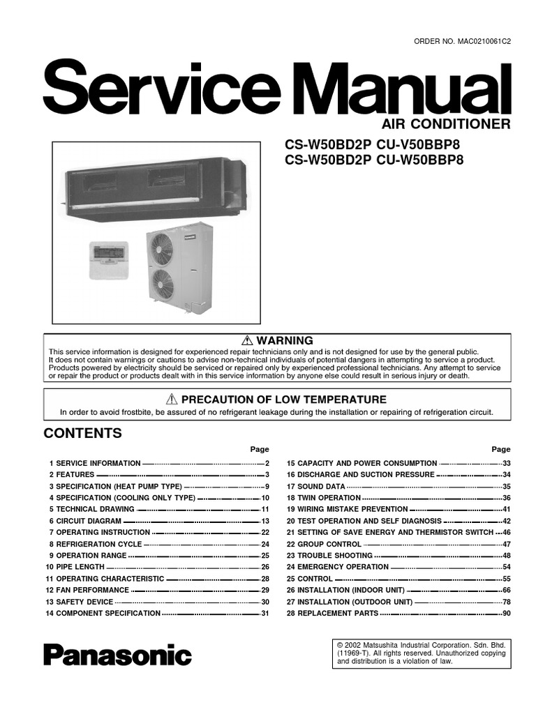 panasonic cs-w50bd2p cu-v50bbp8 cu-w50bbp8 service manual repair guide |  heat pump | air conditioning