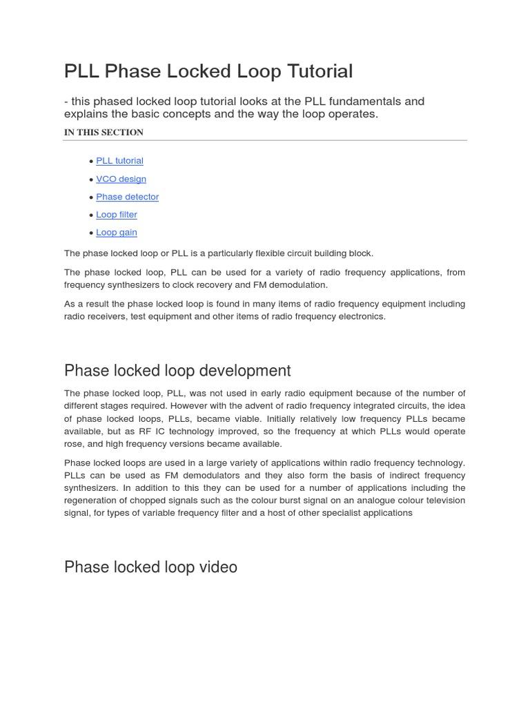 Pll Phase Locked Loop Tutorial Detector Radio Electronic Filter Fm Demodulator Circuit Schematic Diagram