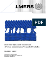 Molecular Dynamics Simulations of Grain Boundaries in Cemented Carbides