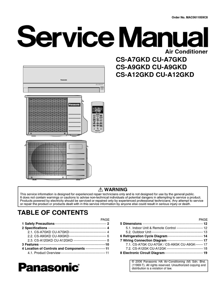 panasonic cs a7gkd cs a9gkd cs a12gkd series service manual repair rh scribd com panasonic window air conditioner service manual panasonic air conditioner inverter service manual