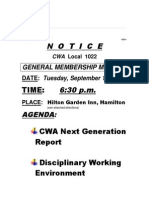 CWA Local 1022 General Membership Meeting, Tuesday, September 16, 2014, 6:30 p.m.