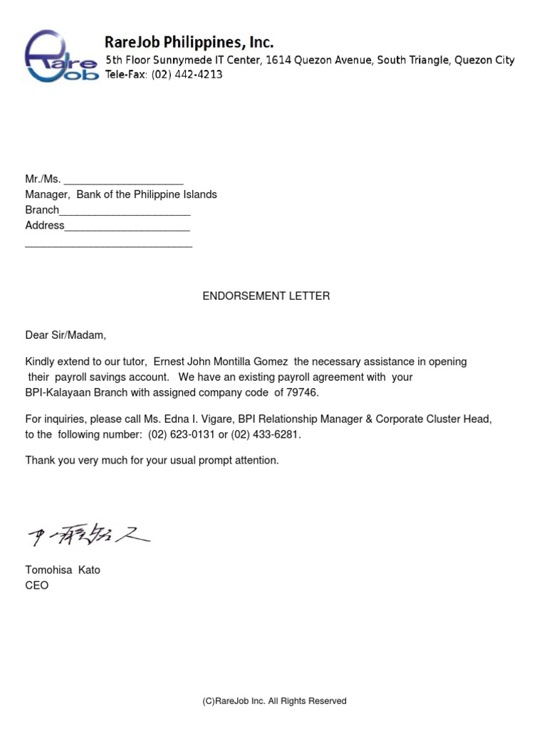 rarejob endorsement letter for bpi
