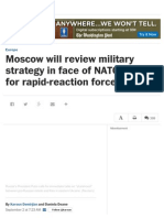 Moscow Will Review Military Strategy in Face of NATO Plan for Rapid-reaction Force - The Washington Post