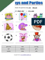 Birthdays and Parties Worksheet