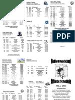 Fall 2014 Sports Schedule
