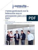 27-08-2014 e-consulta.com - Puebla gestionará con la federación mayor presupuesto para 2015, RMV.