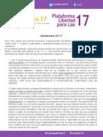 Comunicado de la Plataforma Libertad Para las 17 - Acción Global 1 de septiembre 2014