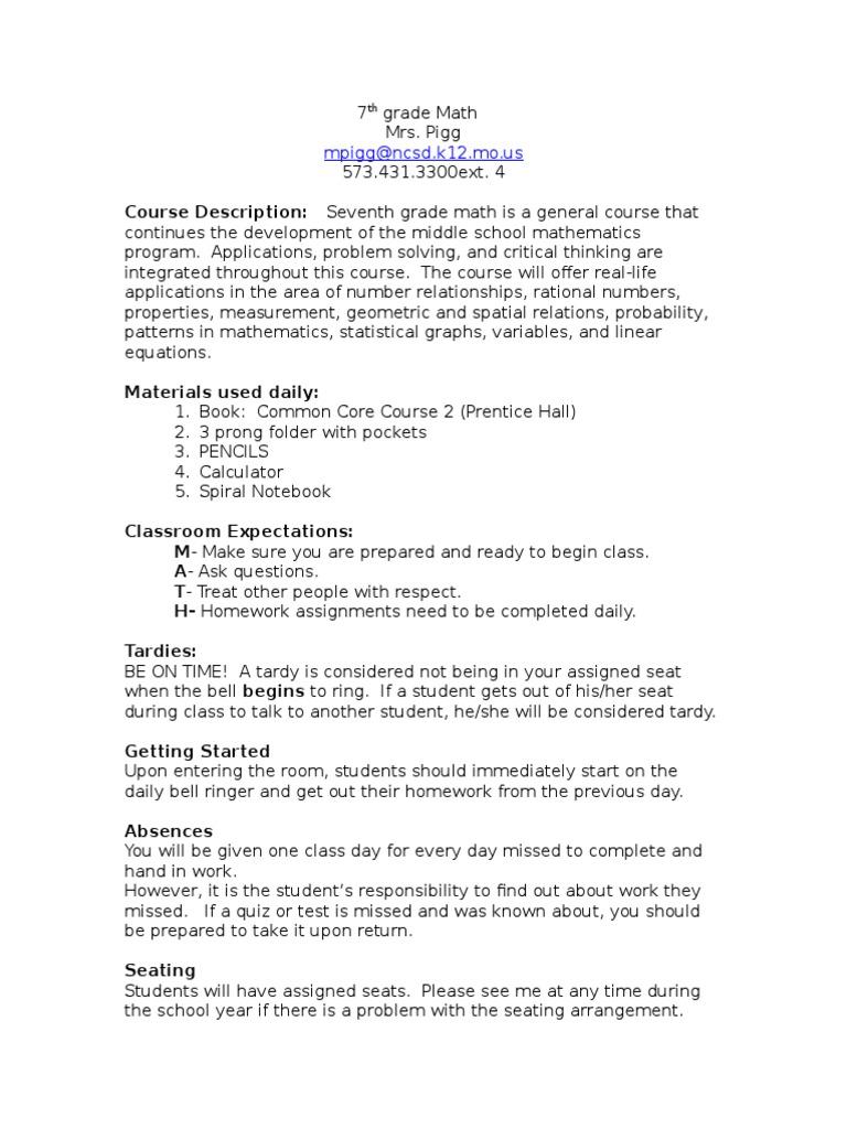 7th Grade Math Schools Academia