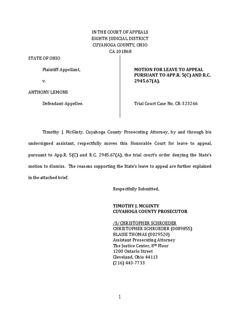Lemons - Motion for Leave to Appeal   Prejudice (Legal Term