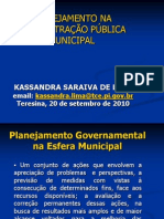 Corecon Plan. Na Administracao Municipal