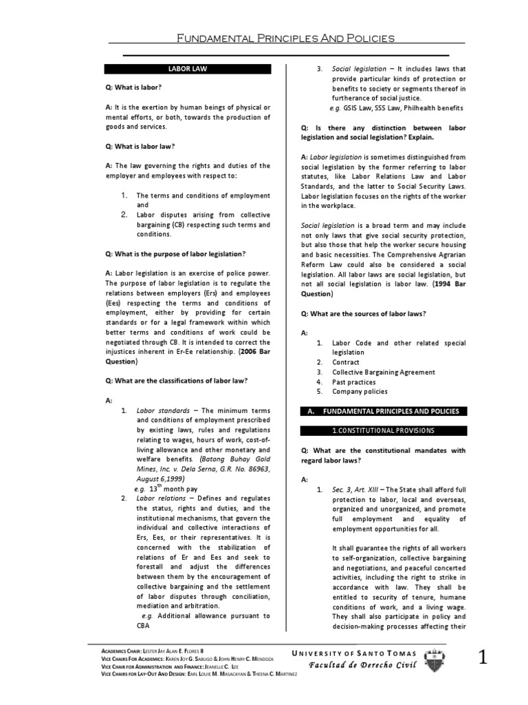 Principles of labor law - the basic ideas of the industry 82