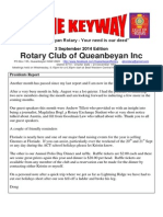 The Keyway - 3 September 2014 edition of Queanbeyan Rotary Newsletter