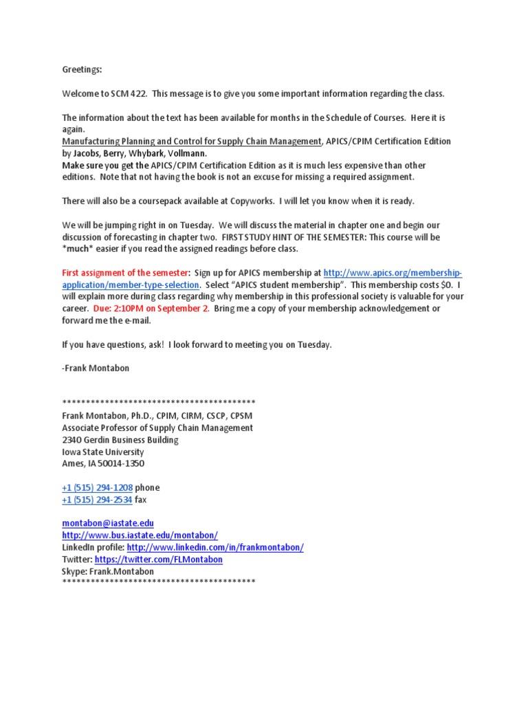 Scm 422 Syllabus Supply Chain Management