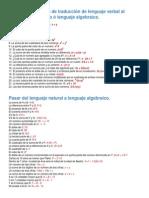 Ejemplos Resueltos de Traducción de Lenguaje Verbal Al Lenguaje Matematico ó Lenguaje Algebraico
