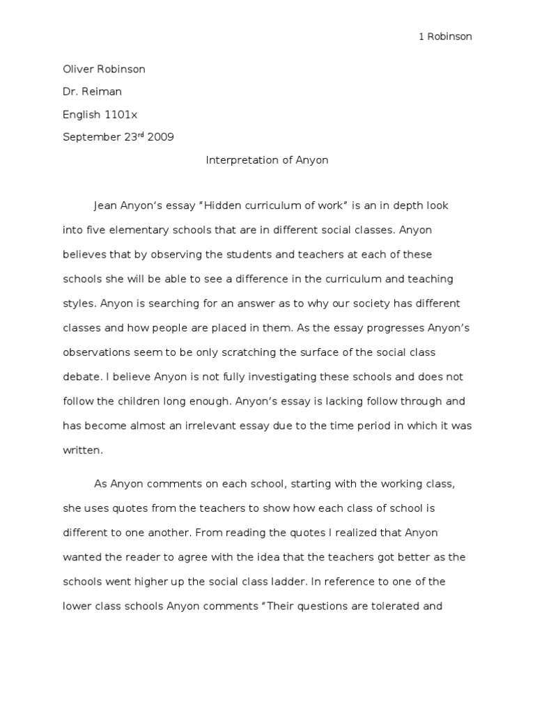 Personal Essay Examples For High School  High School Years Essay also Essay Thesis Statement Example Anyon Critical Interpretation Essay Draft   Essays  Teachers Thesis For Argumentative Essay