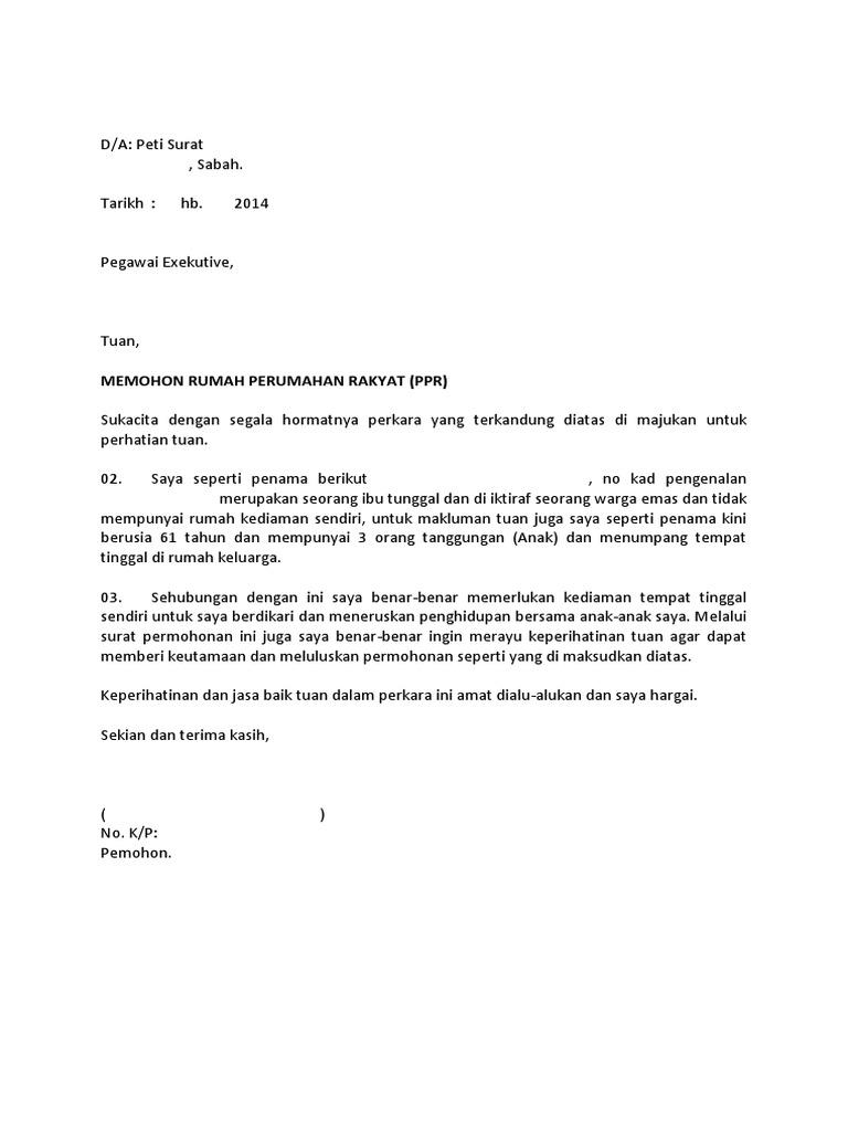 Surat Rasmi Permohonan Rumah Pprt - Rasmi F