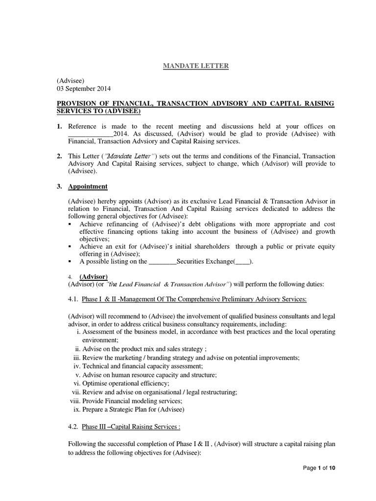 Sample mandate letter arbitration expense spiritdancerdesigns Images