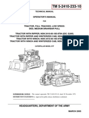 Caterpillar Model d7f Operators Manual | Internal Combustion Engine