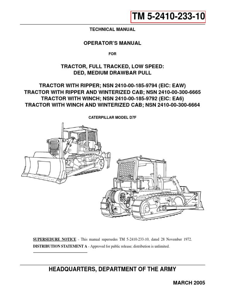 Caterpillar Model d7f Operators Manual | Internal Combustion