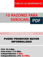 10 Razones para derogar el aporte obligatorio de los independientes