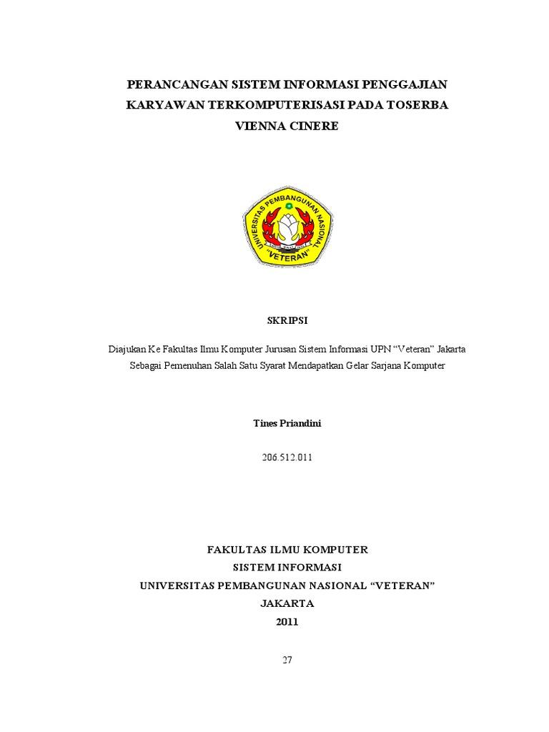 Judul Skripsi Sistem Informasi Akuntansi Penggajian Pejuang Skripsi