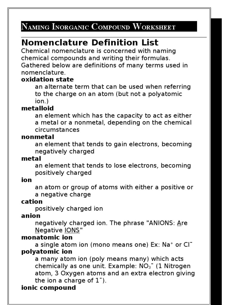 naming inorganic compounds worksheet free worksheets library download and print worksheets. Black Bedroom Furniture Sets. Home Design Ideas