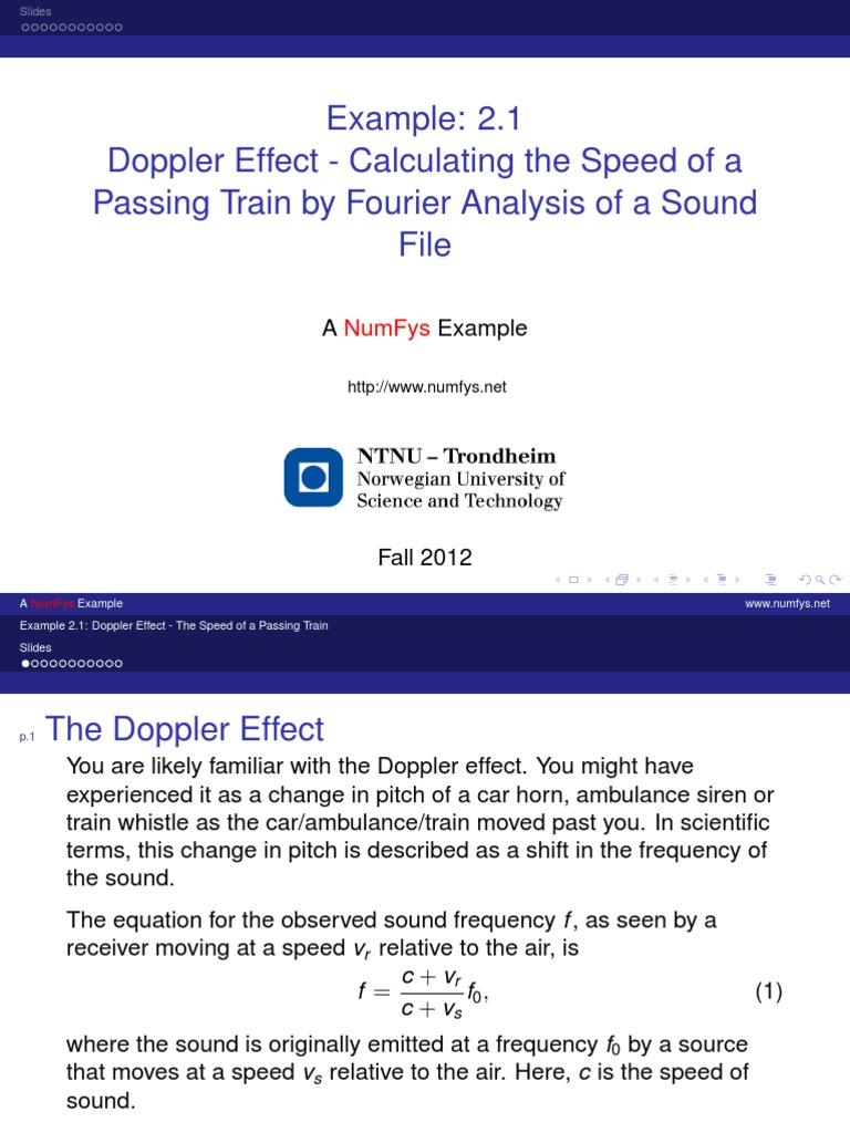 Doppler Effect Calculating The Speed Of A Doppler Effect