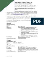 Standard Format for Medical Practitioner CV - Updated