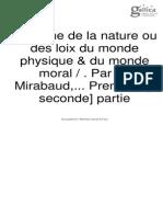 Systeme de la Nature (Seconde Partie)
