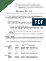 Calendario Ritiro Titoli a.a. 2013-2014