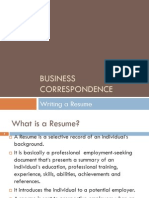 Business Correspondence Resume