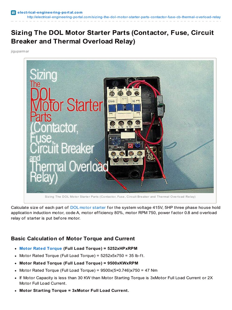 Electrical-Engineering-portal com-Sizing the DOL Motor Starter Parts