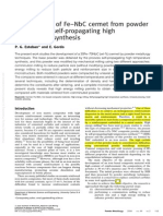 Development of Fe NbC Cermet From Powder Obtained by Self Propagating High Temperature Synthesis 2006 Powder Metallurgy