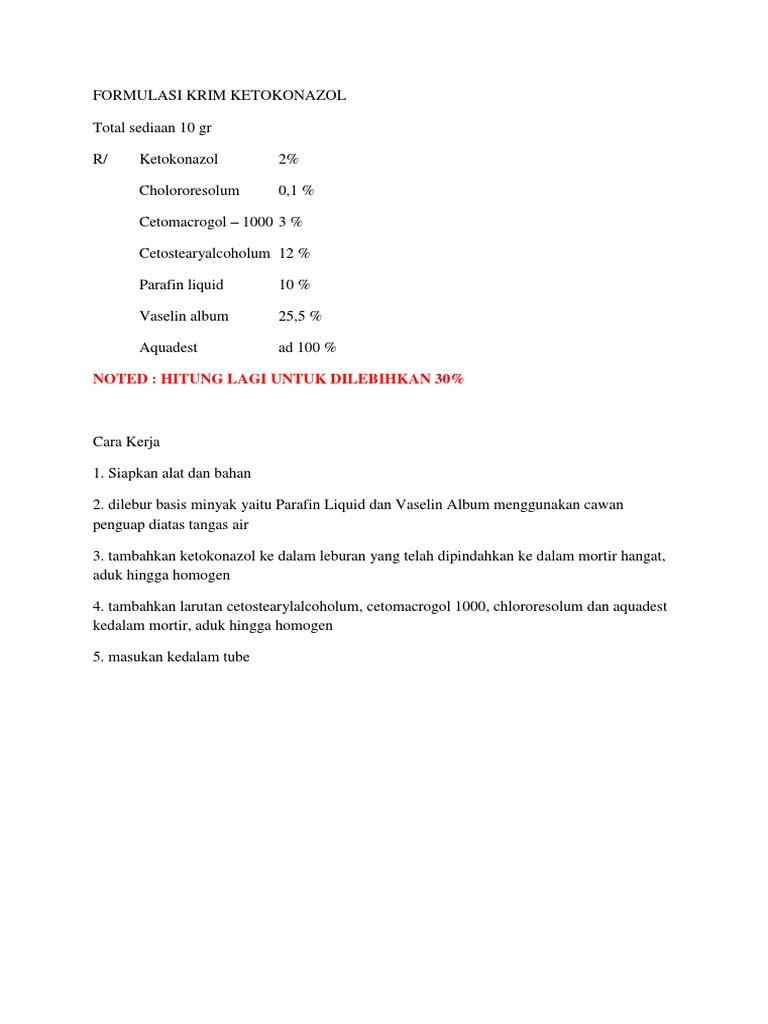 Formulasi Krim Ketokonazol 1
