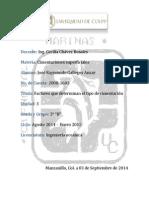 03 de Septiembre de 2014 Factores Que Determinan El Tipo de Cimentación