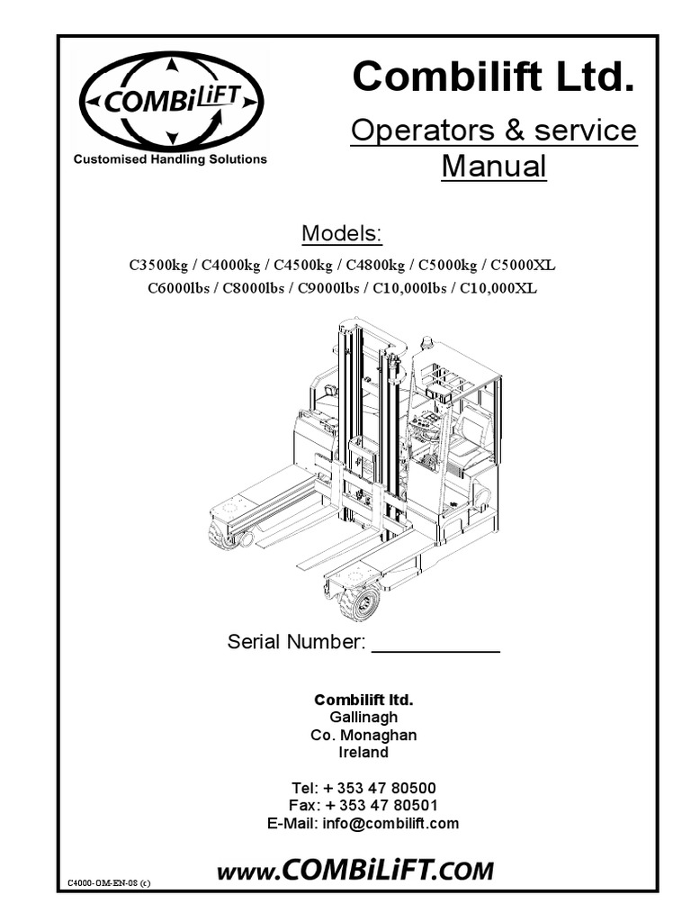Combilift Ltd Operators Service Manual Elevator Truck Toyota Forklift Engine Wiring Diagram