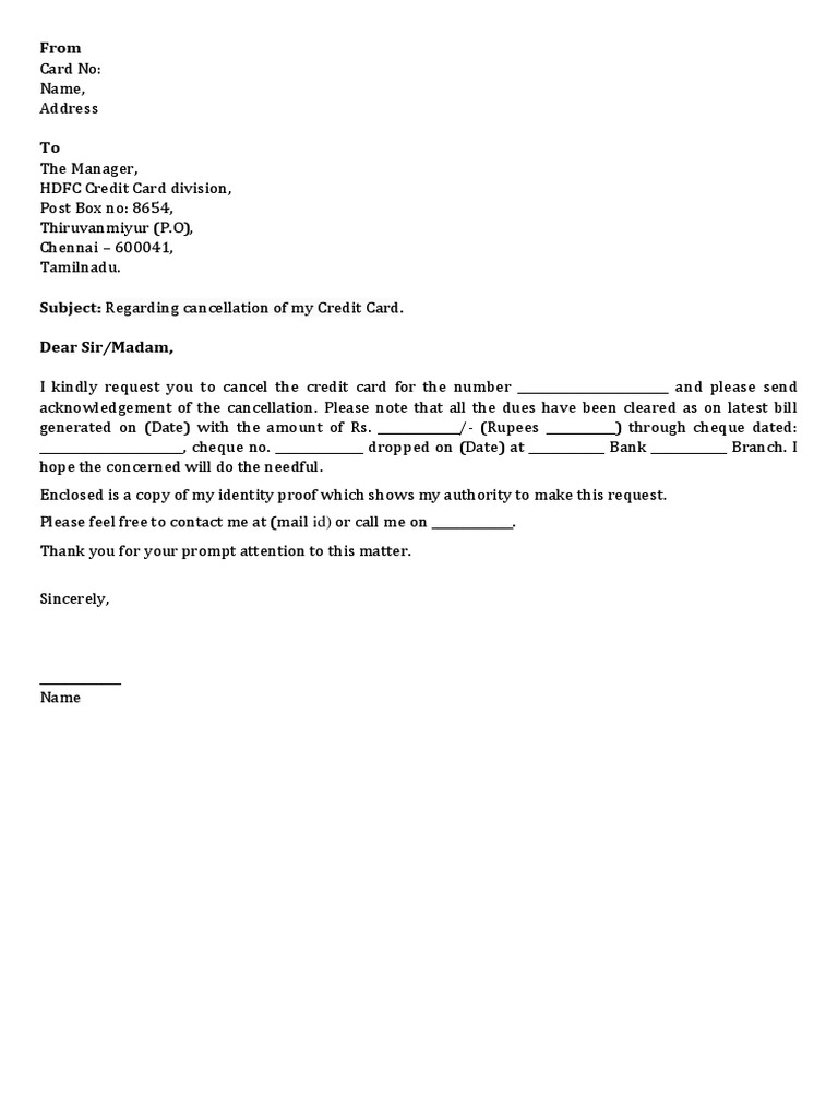 Hdfc Credit Card Cancellation Letter