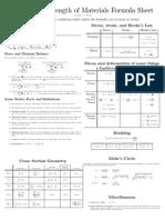 Strength of Material Formulae sheet